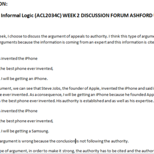 PHI103: Informal Logic (ACL2034C) WEEK 2 DISCUSSION FORUM ASHFORD UNI
