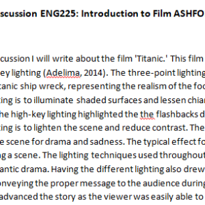 Week 2 – Discussion ENG225: Introduction to Film ASHFORD UNIVERSITY