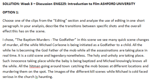SOLUTION: Week 3 – Discussion ENG225: Introduction to Film ASHFORD UNIVERSITY