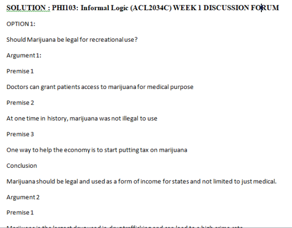 PHI103DiscussionsWeek 1 - Discussion Forum