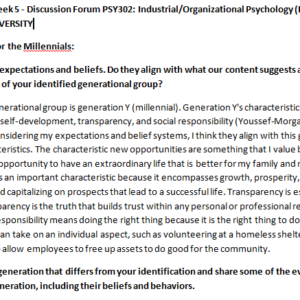 (SOLVED)Week 5 - Discussion Forum PSY302: Industrial/Organizational Psychology (PSH2045A) ASHFORD UNIVERSITY
