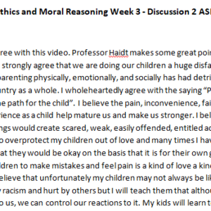 SOLUTION: PHI208: Ethics and Moral Reasoning Week 3 - Discussion 2 ASHFORD UNIVERSITY