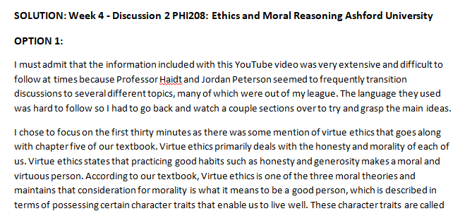 SOLUTION: Week 4 - Discussion 2 PHI208: Ethics and Moral Reasoning Ashford University