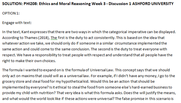 (SOLVED)PHI208: Ethics and Moral Reasoning Week 3 - Discussion 1 ASHFORD UNIVERSITY