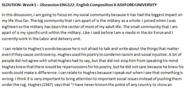 SLOUTION: Week 1 – Discussion ENG122: English Composition II ASHFORD UNIVERSITY