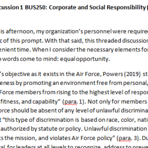 Week 2 - Discussion 1 BUS250: Corporate and Social Responsibility (CUC1931B) ASHFORD UNIVERSITY