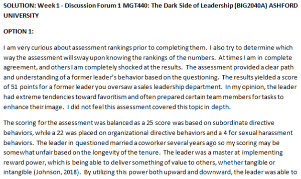 SOLUTION: Week 1 - Discussion Forum 1 MGT440: The Dark Side of Leadership (BIG2040A) ASHFORD UNIVERSITY
