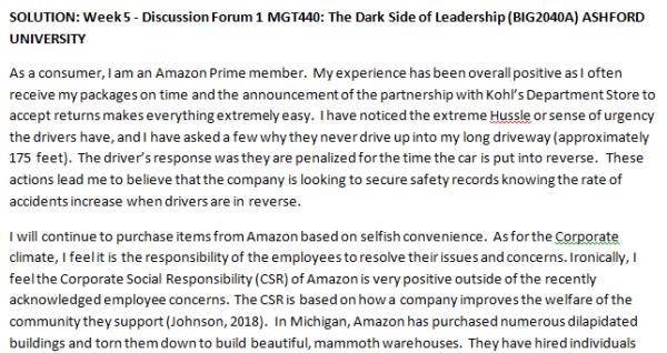 SOLUTION: Week 5 - Discussion Forum 1 MGT440: The Dark Side of Leadership (BIG2040A) ASHFORD UNIVERSITY