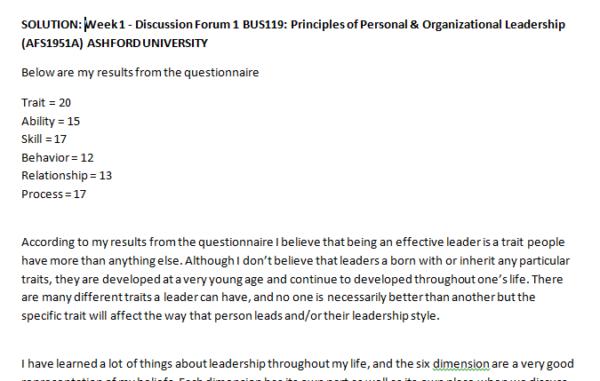 SOLUTION: Week 1 - Discussion Forum 1 BUS119: Principles of Personal & Organizational Leadership (AFS1951A) ASHFORD UNIVERSITY