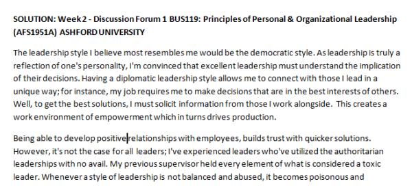 SOLUTION: Week 2 - Discussion Forum 1 BUS119: Principles of Personal & Organizational Leadership (AFS1951A) ASHFORD UNIVERSITY