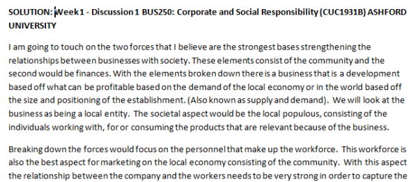 Week 1 - Discussion 1 BUS250: Corporate and Social Responsibility (CUC1931B) ASHFORD UNIVERSITY