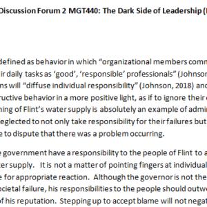 SOLUTION: Week 2 - Discussion Forum 2 MGT440: The Dark Side of Leadership (BIG2040A) ASHFORD UNIVERSITY