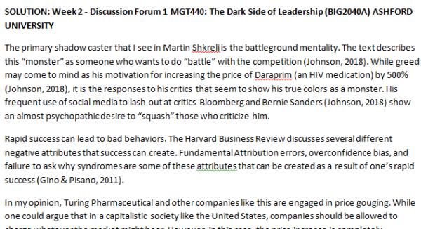 SOLUTION: Week 2 - Discussion Forum 1 MGT440: The Dark Side of Leadership (BIG2040A) ASHFORD UNIVERSITY
