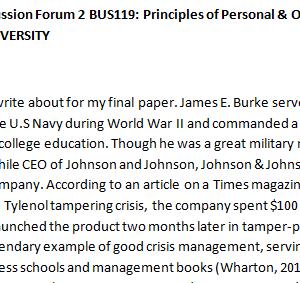 SOLUTION: Week 1 - Discussion Forum 2 BUS119: Principles of Personal & Organizational Leadership (AFS1951A) ASHFORD UNIVERSITY