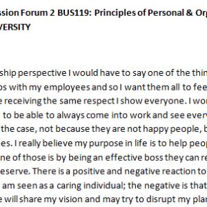 SOLUTION: Week 3 - Discussion Forum 2 BUS119: Principles of Personal & Organizational Leadership (AFS1951A) ASHFORD UNIVERSITY