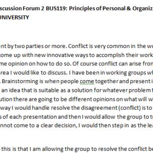 SOLUTION: Week 4 - Discussion Forum 2 BUS119: Principles of Personal & Organizational Leadership (AFS1951A) ASHFORD UNIVERSITY