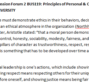 SOLUTION: Week 5 - Discussion Forum 2 BUS119: Principles of Personal & Organizational Leadership (AFS1951A) ASHFORD UNIVERSITY