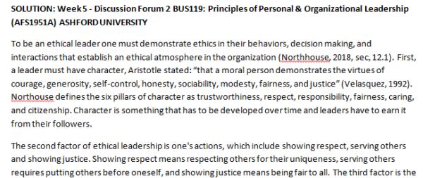 SOLUTION: Week 5 - Discussion Forum 2 BUS119: Principles of Personal & Organizational Leadership (AFS1951A) ASHFORD UNIVERSITY