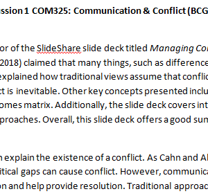 SOLUTION: Week 1 - Discussion 1 COM325: Communication & Conflict (BCG2050A) ASHFORD UNIVERSITY