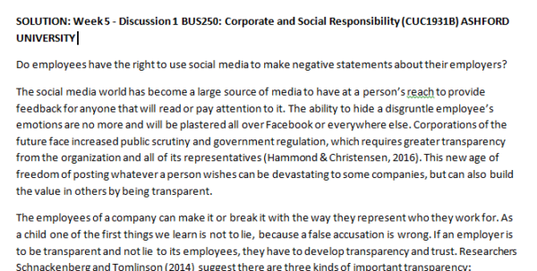 Week 5 - Discussion 1 BUS250: Corporate and Social Responsibility (CUC1931B) ASHFORD UNIVERSITY