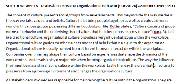 Week 5 - Discussion 1 BUS318: Organizational Behavior (CUE2012B) ASHFORD UNIVERSITY