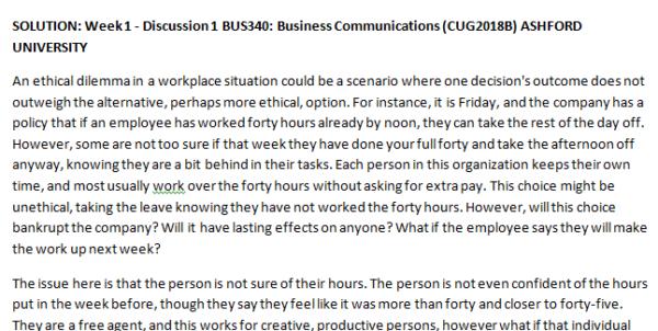 Week 1 - Discussion 1 BUS340: Business Communications (CUG2018B) ASHFORD UNIVERSITY