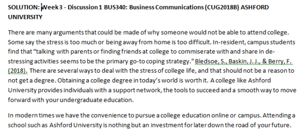 Week 3 - Discussion 1 BUS340: Business Communications (CUG2018B) ASHFORD UNIVERSITY
