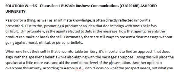 Week 5 - Discussion 1 BUS340: Business Communications (CUG2018B) ASHFORD UNIVERSITY