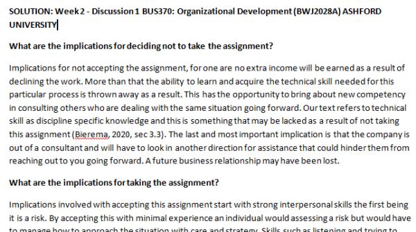 Week 2 - Discussion 1 BUS370: Organizational Development (BWJ2028A) ASHFORD UNIVERSITY