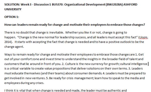 Week 3 - Discussion 1 BUS370: Organizational Development (BWJ2028A) ASHFORD UNIVERSITY