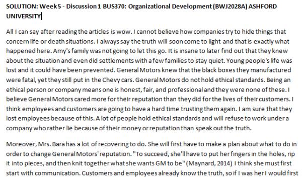 Week 5 - Discussion 1 BUS370: Organizational Development (BWJ2028A) ASHFORD UNIVERSITY