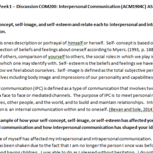 Week 1 – Discussion COM200: Interpersonal Communication (ACM1904C) ASHFORD UNIVERSITY