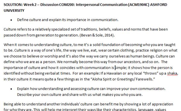 Week 2 – Discussion COM200: Interpersonal Communication (ACM1904C) ASHFORD UNIVERSITY