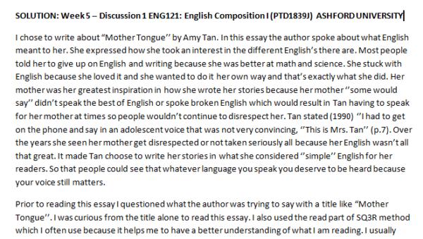 Week 5 – Discussion 1 ENG121: English Composition I (PTD1839J) ASHFORD UNIVERSITY
