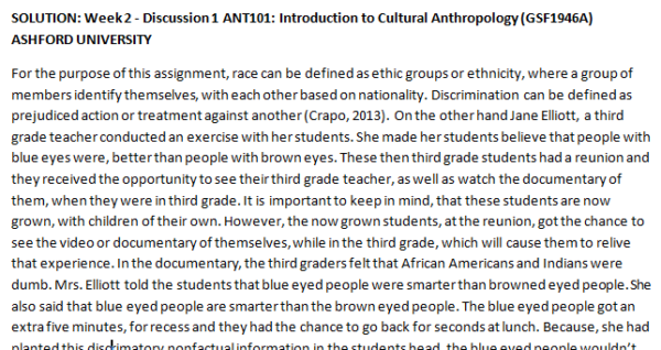 SOLUTION: Week 2 - Discussion 1 ANT101: Introduction to Cultural Anthropology (GSF1946A) ASHFORD UNIVERSITY