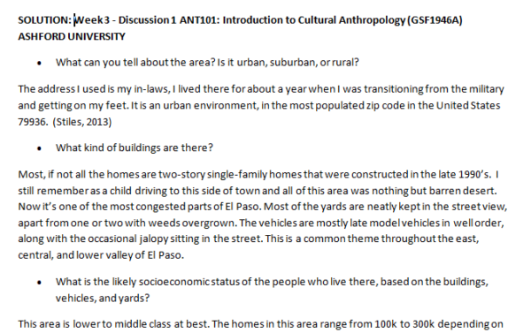 SOLUTION: Week 3 - Discussion 1 ANT101: Introduction to Cultural Anthropology (GSF1946A) ASHFORD UNIVERSITY