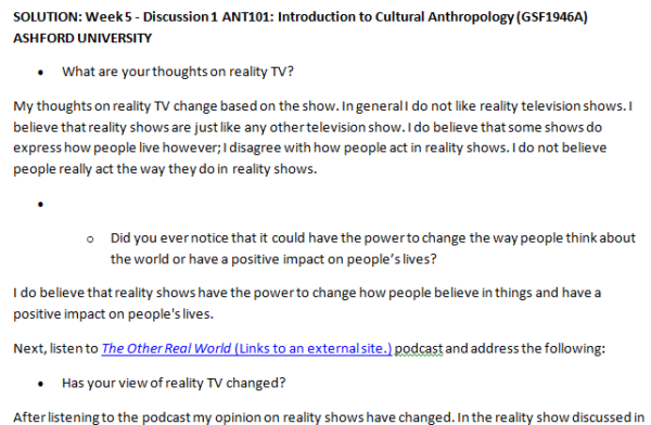 SOLUTION: Week 5 - Discussion 1 ANT101: Introduction to Cultural Anthropology (GSF1946A) ASHFORD UNIVERSITY