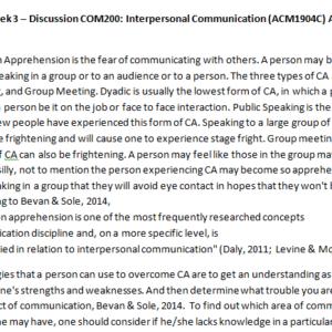 Week 3 – Discussion COM200: Interpersonal Communication (ACM1904C) ASHFORD UNIVERSITY