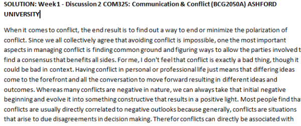 SOLUTION: Week 1 - Discussion 2 COM325: Communication & Conflict (BCG2050A) ASHFORD UNIVERSITY