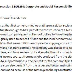 Week 2 - Discussion 2 BUS250: Corporate and Social Responsibility (CUC1931B) ASHFORD UNIVERSITY
