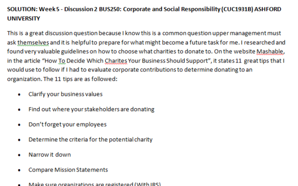 Week 5 - Discussion 2 BUS250: Corporate and Social Responsibility (CUC1931B) ASHFORD UNIVERSITY