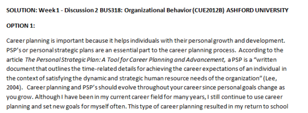 Week 1 - Discussion 2 BUS318: Organizational Behavior (CUE2012B) ASHFORD UNIVERSITY