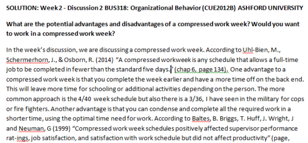 Week 2 - Discussion 2 BUS318: Organizational Behavior (CUE2012B) ASHFORD UNIVERSITY