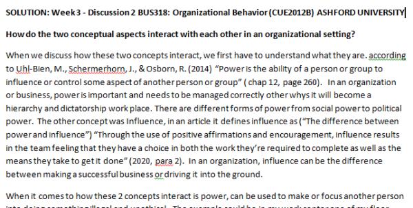 Week 3 - Discussion 2 BUS318: Organizational Behavior (CUE2012B) ASHFORD UNIVERSITY