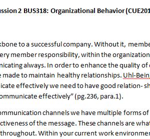 Week 4 - Discussion 2 BUS318: Organizational Behavior (CUE2012B) ASHFORD UNIVERSITY