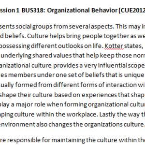Week 5 - Discussion 2 BUS318: Organizational Behavior (CUE2012B) ASHFORD UNIVERSITY