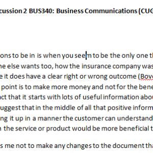 Week 1 - Discussion 2 BUS340: Business Communications (CUG2018B) ASHFORD UNIVERSITY