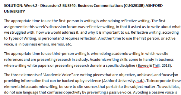 Week 2 - Discussion 2 BUS340: Business Communications (CUG2018B) ASHFORD UNIVERSITY