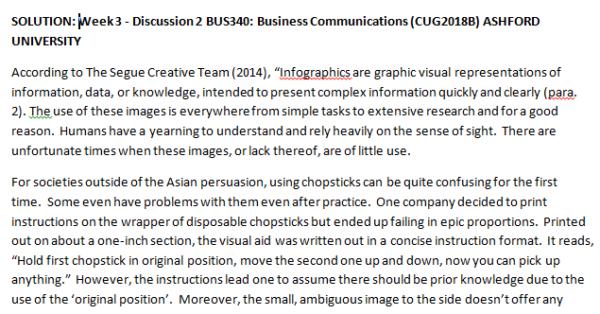 Week 3 - Discussion 2 BUS340: Business Communications (CUG2018B) ASHFORD UNIVERSITY