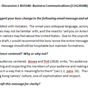 Week 4 - Discussion 2 BUS340: Business Communications (CUG2018B) ASHFORD UNIVERSITY